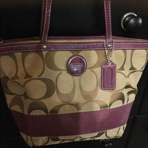 Coach brown with purple trim handbag